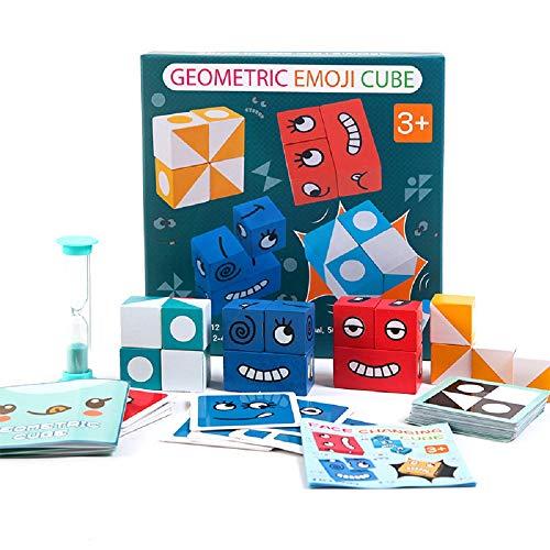 ALOP Geometrisches Emoji-Würfel-Kartenspiel, Face-Changing Puzzle Building Cubes für die frühkindliche Bildung Montessori Wooden Interaction Emoji-Würfel-Kartenspiel (Gesichtsgeometrie)