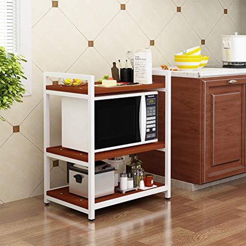 Kitchen furniture - Type à la mode de plancher de support de four à micro-ondes Étagère de stockage d'appareils électriques à trois couches WXP (Couleur : Teak+white)