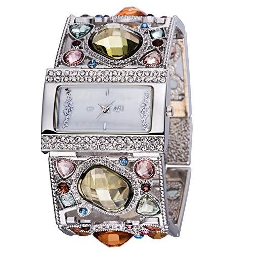 Hxl Dames Horloge Mode Analoog Quartz Horloge Deluxe Elegante Dames Horloge, Wijzerplaat met Strass Steentje/RVS Strass Band
