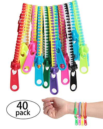 SBYURE 40Piece Friendship Fidget Zipper Bracelet Neon Colors Sensory Bracelet Bulk Set Party Toys for Students Kids Birthday, Goodie Bags, Small Prizes, Mixed