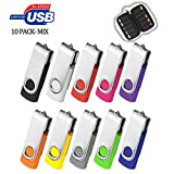ARETOP 64GB Flash Drive USB 10 Pack, 64GB USB 2.0 with Easy-Storage Bag 10PCS Mix-Colors Pendrive Memory Stick Thumb Drives Jump Drive Bulk Flash Drive