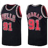Maglia-Chicago Bulls 91Dennis Rodman Maglie da Basket per Uomo E Donna in Jersey Retro Tessuto Fresco Traspirantesport E Tempo Libero Maglie Uomo da Basket per Tifosi Canotte da Uomo S-XXL