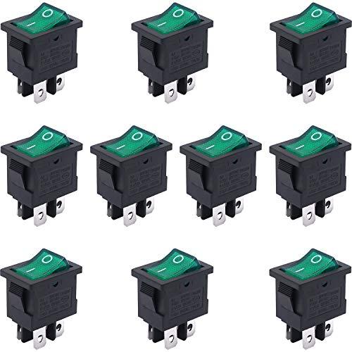 Taiss 10 unidades de 250 V CA / 6 A, 125 V / 10 A, luz verde iluminada ON/OFF DPST de 4 pines, 2 posiciones, mini botón, interruptor basculante, botón de presión KCD1-4-201N-G