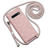 QULT Funda con Cuerda Compatible con Samsung Galaxy S10 Plus Carcasa de movil con Colgante Cadena Suave Silicona Necklace Bumper Case Pastel Rosa Motivo de Puntos Blancos