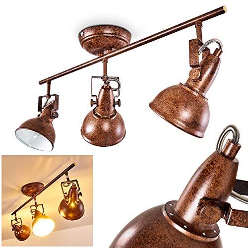 Lámpara de techo Tina, de metal marrón/blanco oxidado, 3 llamas, con focos regulables, 3 tomas E14 máx. 40 W, focos en diseño retro/vintage, adecuada para bombillas LED