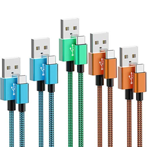 USB C Cable, JOBKIM [5-Pack, 6 ft] Nylon Braided Cable, USB A to Type C Cable Fast Charge for Samsung Galaxy S9 S8 Note 9, LG V30 G6 G5 V20, Google Pixel, Moto Z2 and Other USB C Charger (Colorful)