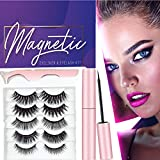 Magnetic Eyelash with Eyeliner Kit- 5 Pairs of Reusable Magnetic Lash with Magnetic Liquid Eyeliners, Natural Look Full Eye Lashes, Water Proof, Glue Free, Light & Ease Wear, Best 3 D false lash