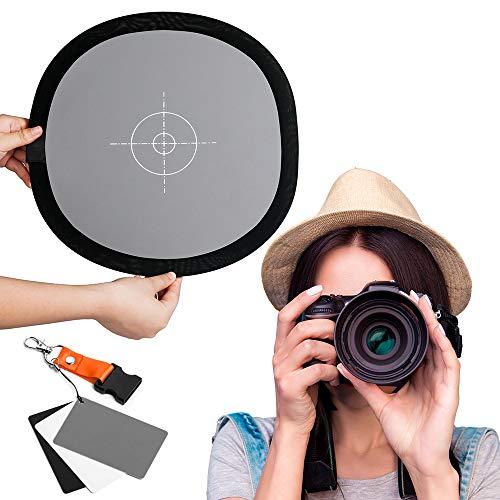Fotover 2 in 1 Faltbar 12x12 Zoll Weißabgleich und 3 in 1 Graukarte Reflektiert 18% des Lichts Referenzkarte mit Premium Clip Release Umhängeband für Canon Nikon Sony Pentax Fuji Olympus Kamera