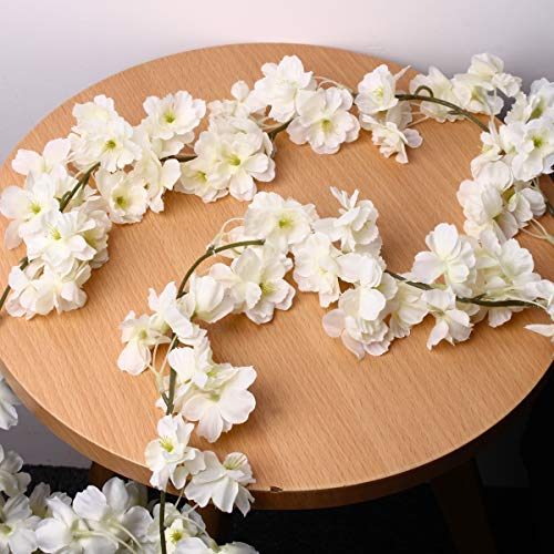 HonFitat Artificial Silk Cherry Blossom Flower Hanging Vine Garlands Home Wedding Decorations - White