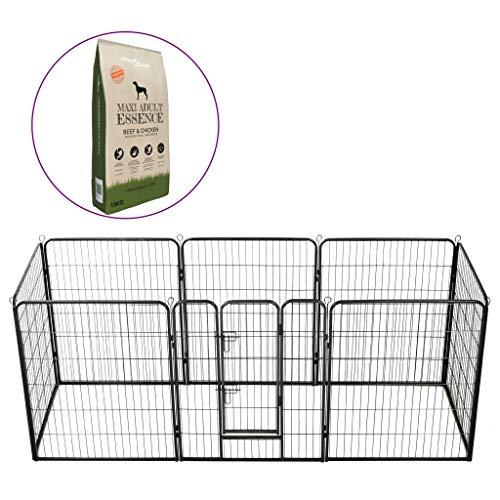 vidaXL Laufstall und Trockenfutter für Hunde, Käfig