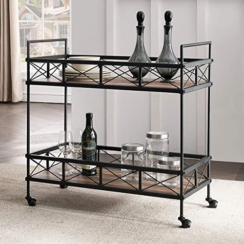 "O&K FURNITURE Industrial Bar Serving Cart, Kitchen Storage Cart, 2-Tier Rectangular Rolling Bar Cart for Home Kitchen, Vintage Brown, 31.5""W x 16""D x 32""H, (1-PC)"
