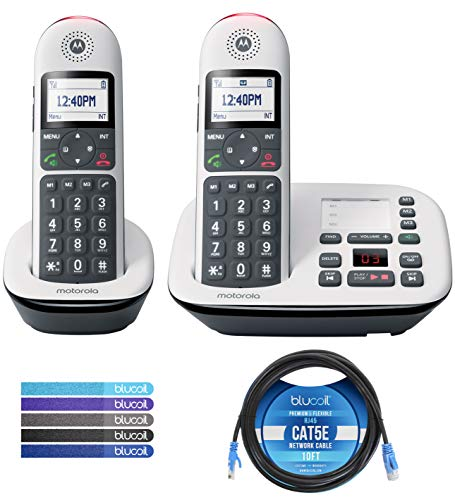 Motorola CD5012 DECT 6.0 Cordless Phone with Digital Answering Machine, Call Block, and 10dB Amplification (2-Pack) Bundle with Blucoil 10-FT 1 Gbps Cat5e Cable, and Reusable Cable Ties (5-Pack)