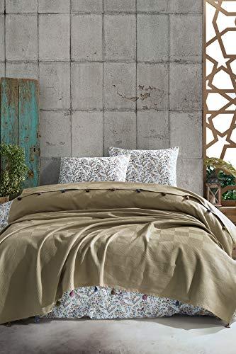 BOHORIA® Premium Tagesdecke Colors of Morocco - Bettüberwurf Wohndecke Wendedecke Kuscheldecke Sofadecke mit Tasseln   extra-groß 220 x 240 cm (Khaki)