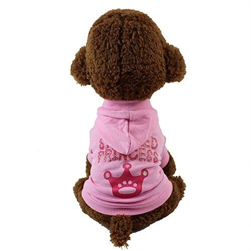 Haustier mit Kapuze T-Shirt,Haustier Hundebekleidung Hoodie Warme Puppy Coat Bekleidung Warme Hundepullover,für Kleine Hunde, Welpen,Schnauzer,Teddy,Pudel,Chihuahua (Rosa, XS)