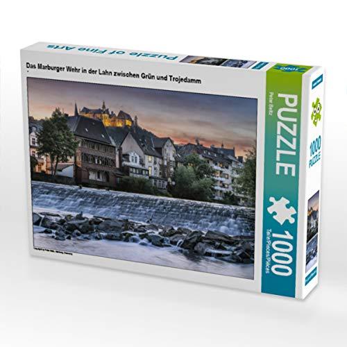 CALVENDO Puzzle Das Marburger Wehr in der Lahn zwischen Grün und Trojedamm 1000 Teile Lege-Größe 64 x 48 cm Foto-Puzzle Bild von Peter Beltz