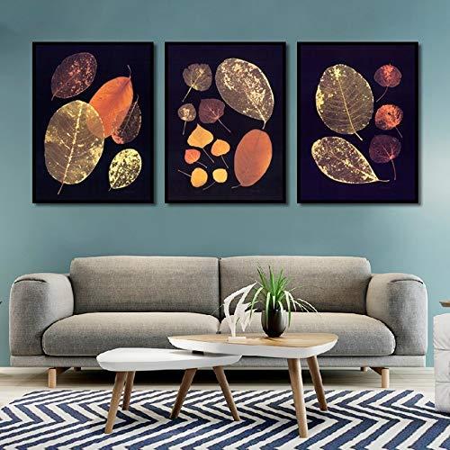 Geiqianjiumai Creatieve Scandinavische Vintage Blad Canvas Olieverfschilderij Thuis Art Deco Poster en het maken van Woonkamer Modulair Wandbeeld