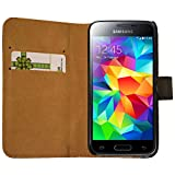 Slabo Flip Case Cover in Bookstyle für Samsung Galaxy S5 Mini - ECHT Leder - schwarz | Black