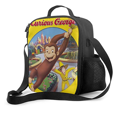 Curious George Insulated Lunch Bag For Men &Women &Children Reusable Leak Proof Cooler Thermal Tote Lunch Box With Adjustable Shoulder Strap,One Size