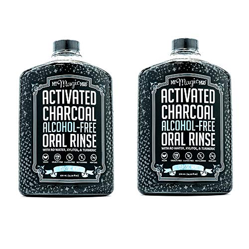 My Magic Mud - Activated Charcoal Oral Rinse, Freshens Breath, Soothes Mouth, Classic Mint, 420 ml (2-Pack)