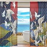 MNSRUU - Cortinas de gasa con diseño de grullas japonesas de 213 cm de largo, panel de cortina para ventana de salón o dormitorio, 2 paneles, tela, Patrón 1, 55'W x 84'L(140cm x 213cm)