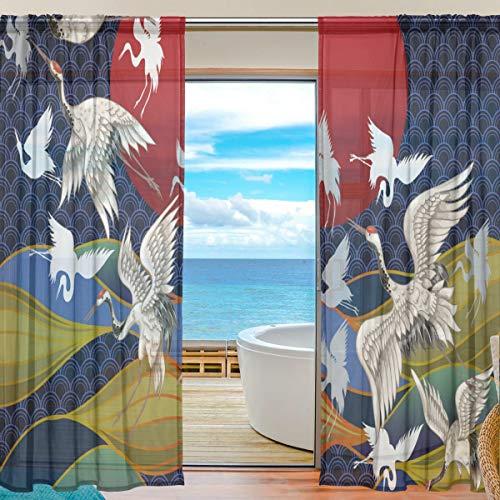 """MNSRUU - Cortinas de gasa con diseño de grullas japonesas de 213 cm de largo, panel de cortina para ventana de salón o dormitorio, 2 paneles, tela, Patrón 1, 55""""W x 84""""L(140cm x 213cm)"""