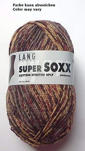 Lang Yarns 100g Super Soxx Cotton Stretch 4-Fach Sockenwolle Fb. 30