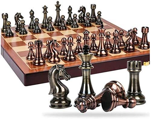 Juego de tablero de ajedrez Staunton Juego de ajedrez Staunton Metal Bronce y latón Piezas de ajedrez Tablero de ajedrez plegable de madera maciza Juego de ajedrez profesional de alto grado Juego de a
