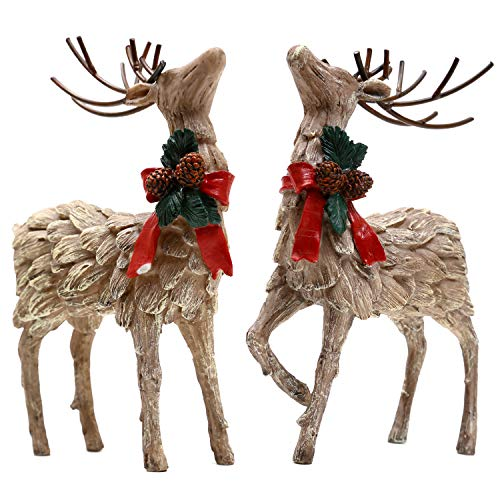Topadorn Resin Holiday Deer Tabletop Holiday Figurine Christmas Decorative,2 Pack