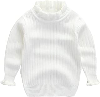 Baby Girl Sweaters Infant Warm Combed Cotton Sweatshirt Cable Knit Ruffles Turtleneck Pullover 2-6T