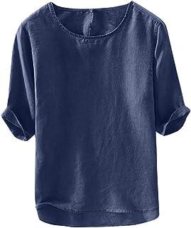 Camiseta De Lino Camisa Hombre Para Casual 3 4 Tamaños Cómodos Mangas Camisa De Verano Para Hombre Casual Regular Fit Tops...