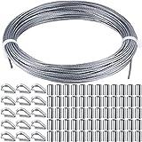 Juegos de Barandas de Cable de Acero de Cable de Acero Incluye Cable de Cable de Acero Inoxidable, Mangas de Aluminio para Prensar y Dedal de Acero Inoxidable para Barandilla, Kit para Colgar Cuadros
