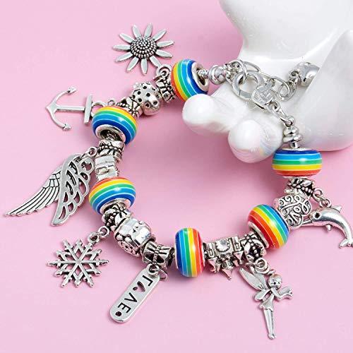 Charm Bracelet Kit DIY, Pulsera de Abalorios, Girl Bracelets, Handmade Friendship Bracelets - Gift for Girl Teens, Jewelry Craft Kit Girl, for Girl Giveaways Kids Birthday Party Favors