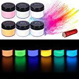 Glow in The Dark Powder Pigment with Flashlight, Luminous Powder Dye, Epoxy Resin Glowing Dye, 6 Colors/0.7oz Each, for Various Activities, Evening Parties, Halloween, Nail Art, Resin, Crafts