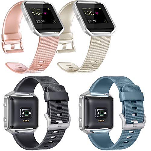 Vancle Replacement Bands Compatible with Fitbit Blaze, 4 Pack (Rose Gold, Gold, Black, Slate, Small)