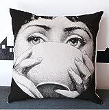 NicholasArt, federa quadrata per cuscino con zip, con stampa Fornasetti, 45 cm x 45 cm