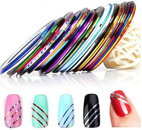 Linea de uñas 90 Piezas Uñas Arte Cinta 30 Colores Pegatinas de Arte de Uñas para Punta de Uñas de DIY
