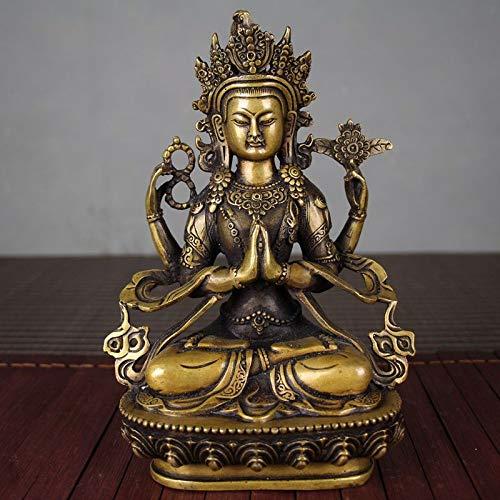 WGLG - Figura decorativa de estatua de escultura para el hogar, diseño tántrico raro, latón, cobre, estatua de Buda, metal para regalos y decoración del hogar