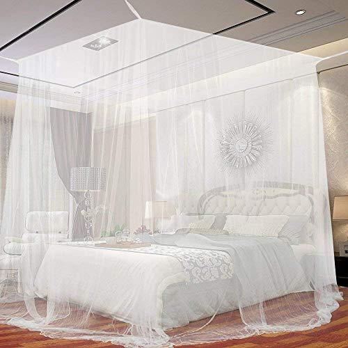 Moustiquaire de lit carrée 2m x 2m x 1.8m Grand format Moustiquaire Baldaquin pour Lits Doubles La meilleure moustiquaire de lit pour se protéger efficacement des moustiques (200 * 200 * 180cm)