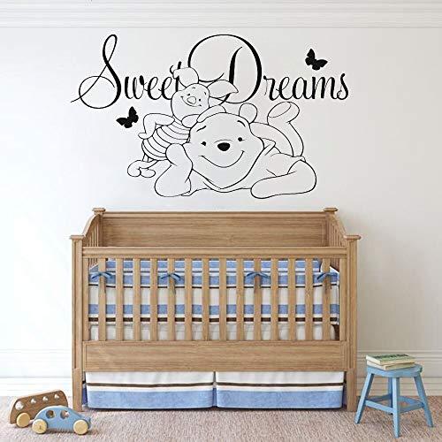 Pegatina para habitación de niños con cerdito, pegatina para el hogar con dibujos animados de oso de Anime, pegatina para pared de sueño dulce, decoración de habitación