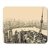 マウスパッドシティ中国川の上の上海の空撮ノート、デスクトップコンピューターマットオフィス用品用マウスパッド