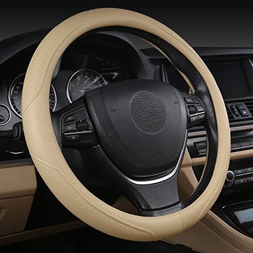 Pahajim Coprivolante per Auto in Morbida Pelle Universale 38 cm Traspirante Antiscivolo per Manicotto per RuotaProtettiva per Curve Sportive, Resistente(beige)