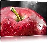 pomme rouge vif avec des gouttes d'eau noir / blanc Taille: 60x40 sur toile, XXL énormes Photos complètement encadrées avec civière, impression d'art sur murale avec cadre, moins cher que la peinture ou une peinture à l'huile, pas une affiche ou une bannière,