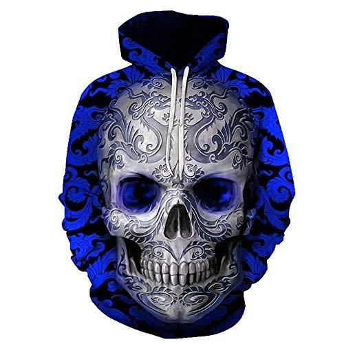 Hoodie Herren 3D-gedruckte Paar Pullover Pullover mit Kapuze Pullover mit Kapuze Ghost Scary Schädel Langarm-Sweatshirts 3D Graphic Animal Sportswear 5XL
