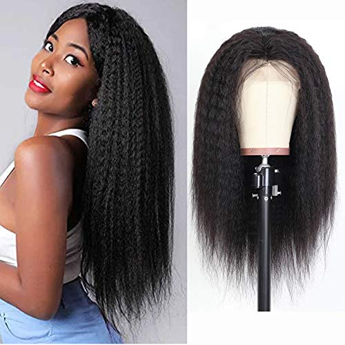 Kinky Straight Wig 4X4 Lace Front Wigs Human Hair Pre Plucked With Baby Hair Grade 9A Italian Yaki Wig For Women Wet And Wavy Unprocessed Virgin Hair Real Human Hair 1B 14 Inch
