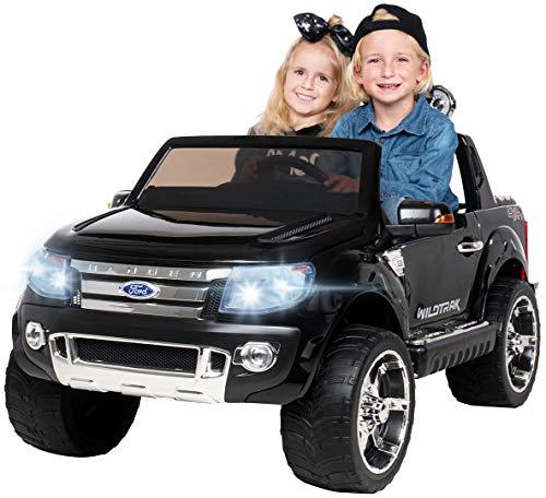 Actionbikes Motors Kinder Elektroauto Ford Ranger - Lizenziert - 2 x 45 Watt Motor - 2,4 Ghz Rc Fernbedienung - USB - Sd Karte - Elektro Auto für Kinder ab 3 Jahre (Schwarz)