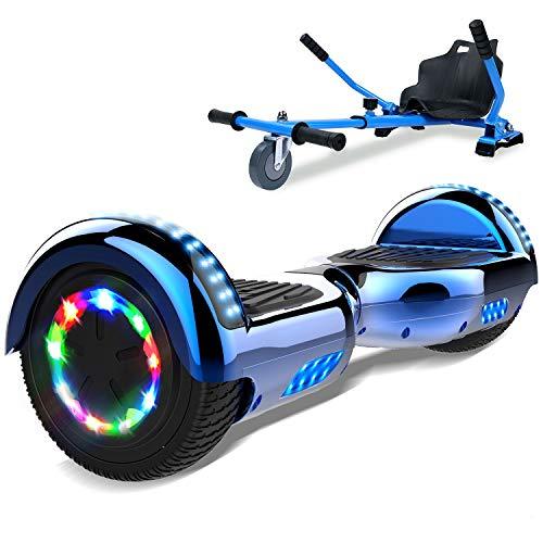 SOUTHERN-WOLF Self-Balancing Scooter, Hoverboard 6,5zoll Hover Scooter Board Bluetooth Scooter mit bunten Lichter Bluetooth eingebaute Geschenk für z29 (Silver)