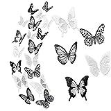 72 Stück 3D Schmetterling Aufkleber Wandsticker Wandtattoo Wanddeko, Schlagfestem Kunststoff Möbelwanddekorationen für Wohnung Hause Wand Dekoration