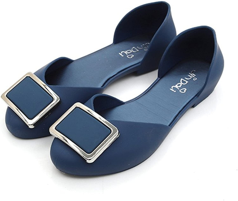 Pit4tk Flats shoes Women Jelly Sandals Slip on Waterproof Rain shoes