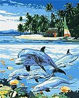 DIYデジタル絵画Diyデジタル油絵壁画家の装飾アクリル画5つの青いイルカ40X50cm