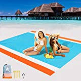 "4. AISPARKY Beach Blanket, Beach Mat Outdoor Picnic Blanket Large Sandproof Compact for 4-7 Persons Water Proof and Drying Beach Mat Nylon Pocket Picnic for Outdoor Travel (78"" X 81"")"